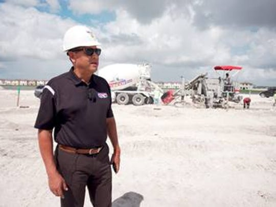 Luis Garcia, owner of Adonel Concrete, on site at a