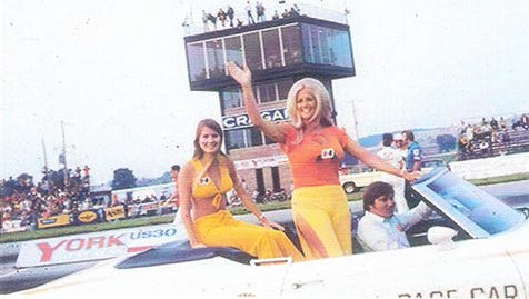 """Linda Vaughn, right, known as the """"First Lady of Motorsports"""" will appear at the York Nostalgia Weekend."""