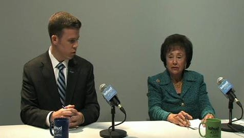 Chris Day, the Republican challenger for the 17th Congressional District seat, and Rep. Nita Lowey, the Democratic incumbent, during a recent discussion with the Editorial Board.