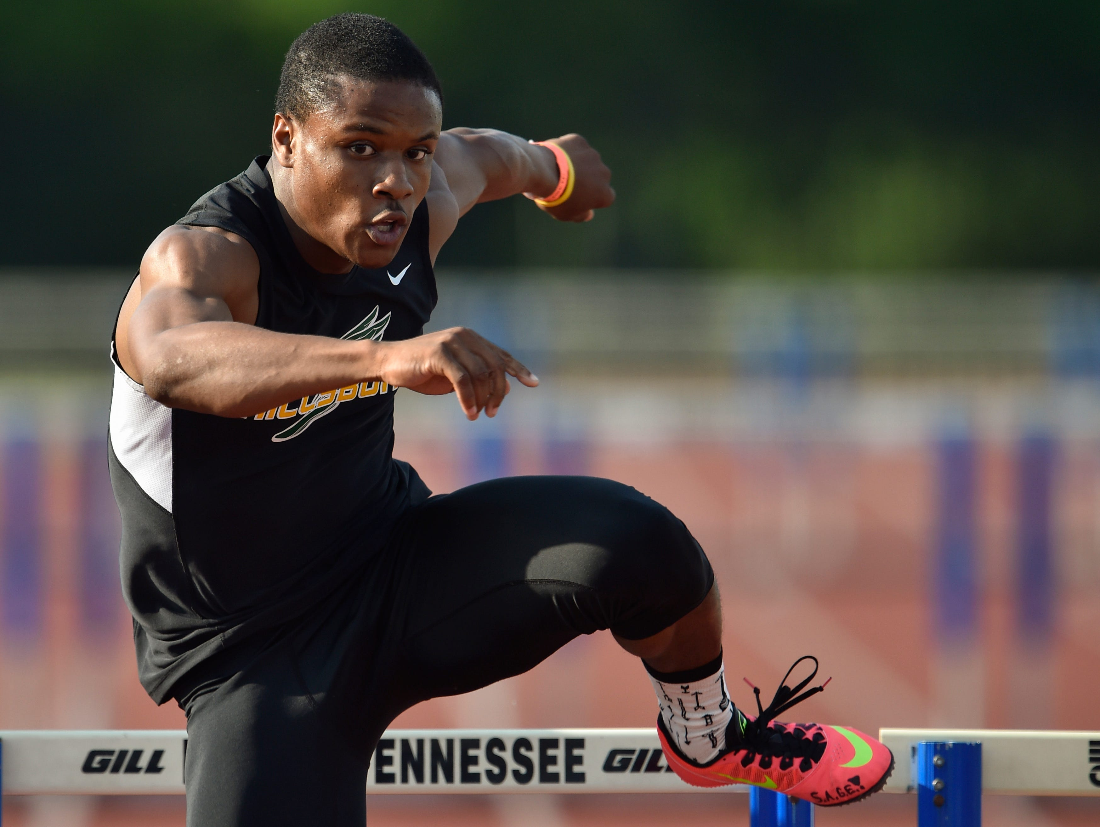Hillsboro's John Wilkerson competes in the 300m Hurdles during the Spring Fling boys state track meet at MTSU's Dean Hayes Track and Field Stadium, Friday, May 27, 2016, in Murfreesboro, Tenn.
