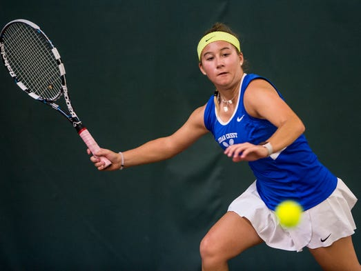 Cedar Crest's Keeley Hartman chases down a ball during