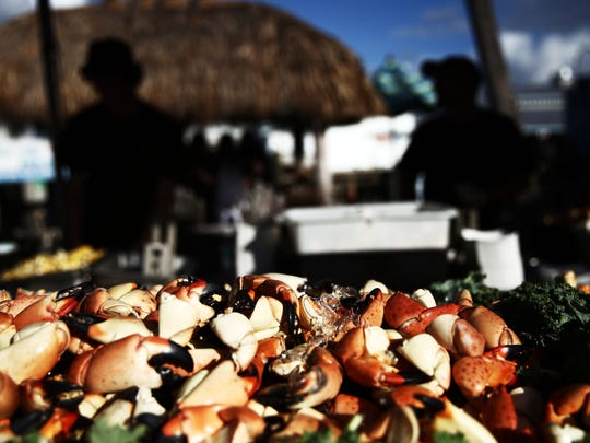 Stone Crabs for sale during the sixth annual Stone Crab Festival in Naples on Friday, Oct. 23, 2015.