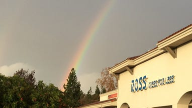 A rainbow shines over Thousand Oaks on Saturday.
