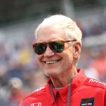 David Letterman in his pit area before the 99th running of the Indianapolis 500 May 24, 2015.