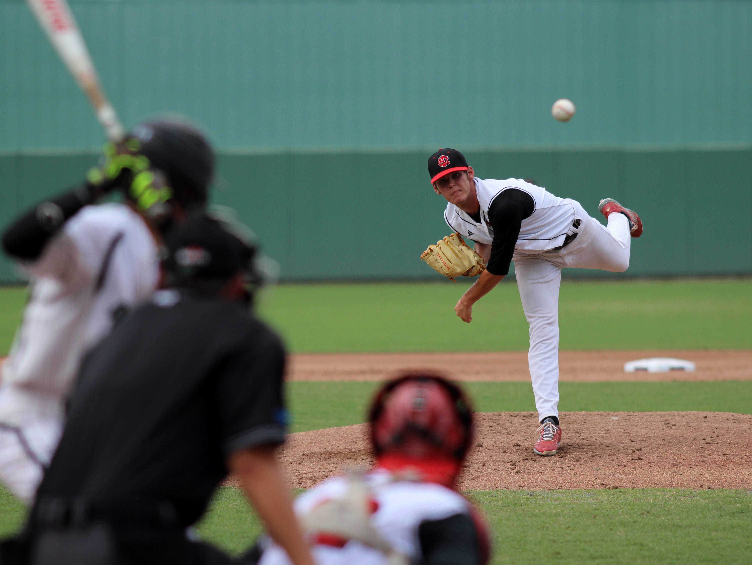 Cole Ragans pitches during Tuesday's FHSAA Class 3A State Championship game at jetBlue Park in Fort Myers, Florida.