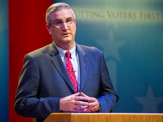 Republican Lt. Gov. Eric Holcomb participates in a debate for Indiana governor at the University of Southern Indiana in Evansville, Tuesday, Oct. 25, 2016.