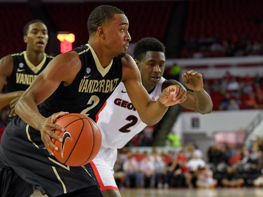Vanderbilt Commodores guard Joe Toye (2) tries to beat
