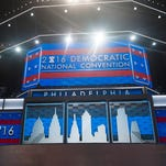 Democratic National Convention stage at Wells Fargo Arena in Philadelphia.