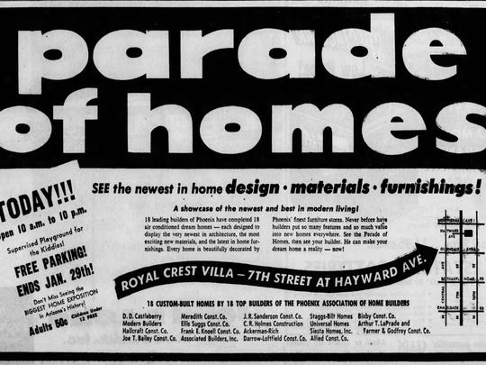 Ad for Parade of Homes featured in the Jan. 22, 1956