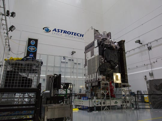 The NOAA's GOES-S satellite at Astrotech Space Operations in Titusville.