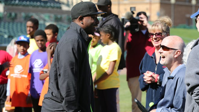 LeSean McCoy talks with Scott Maxson of Fairport during the April announcement of the celebrity softball event coming to Frontier Field on June 13. The purpose of the game is to raise awareness and funds for ALS.