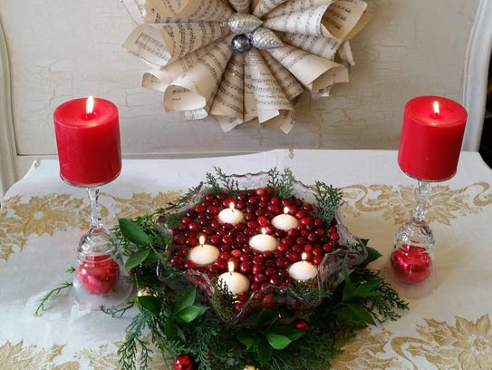 Floating candles and cranberries make a festive centerpiece.