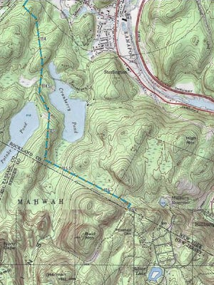 The Proposed Pilgrim Pipeline project would cut through the Ramapo River watershed. The route is shown here in blue.