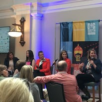 A panel of women in top tech jobs share thoughts on how they became successful. They are, from left to right, Michelle Van Jura, Heather Wilde, Wendy Yale, Titania Jordan and Jen Kavanaugh.