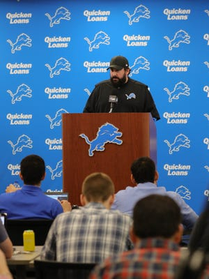 Detroit Lions head coach Matt Patricia answers questions about a dismissed sexual assault case from 1996 on Thursday, May 10, 2018, in Allen Park.