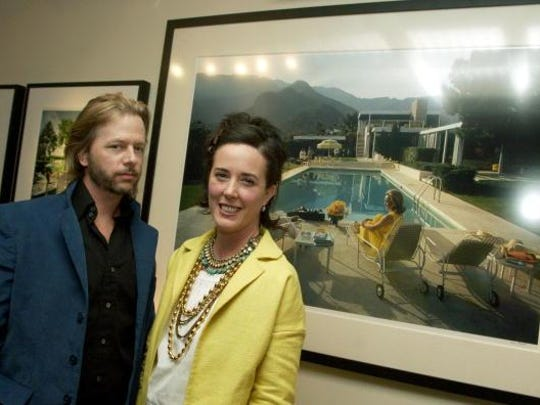 Comedian David Spade and his sister-in-law Kate Spade attend a gallery exhibition.