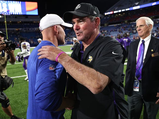 ORCHARD PARK, NEW YORK - AUGUST 29: Head Coach Sean McDermott of the Buffalo Bills shakes hands with head coach Mike Zimmer of the Minnesota Vikings after a preseason game at New Era Field on August 29, 2019 in Orchard Park, New York. (Photo by Bryan M. Bennett/Getty Images)