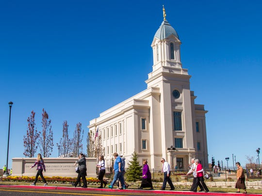 People visit the Cedar City LDS Temple on the first day of the public open house, Friday, October 27, 2017.