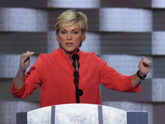 FILE -- Former Michigan Governor Jennifer Granholm addresses delegates on the fourth and final day of the Democratic National Convention at Wells Fargo Center on July 28, 2016, in Philadelphia.