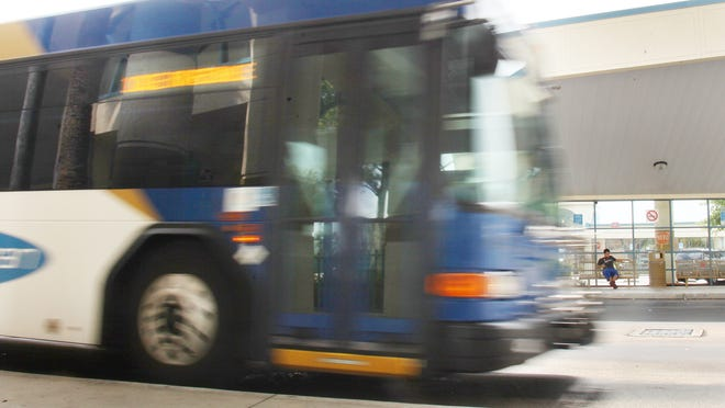 The 100E to Riverdale arrives at the Lee Transit Station near downtown Fort Myers on Tuesday.