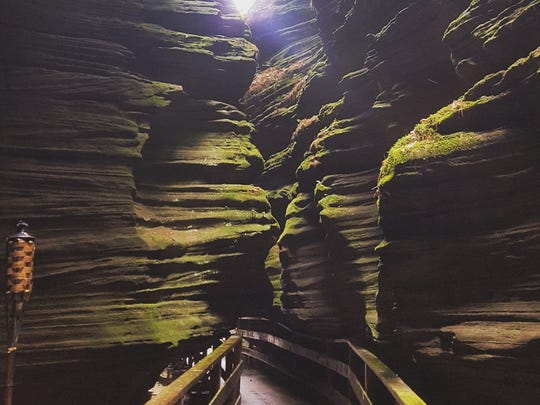 A boardwalk leads through Witches Gulch, only accessible via an Upper Dells boat tour.