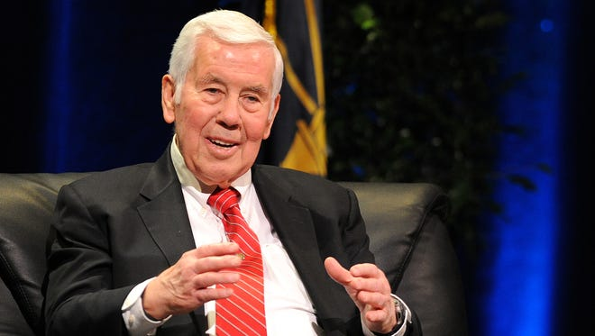 """Former Senator Richard Lugar speaks during a conversation titled """"Diplomacy in a Dangerous World"""", Tuesday, February 25, 2014, at the University of Indianapolis."""