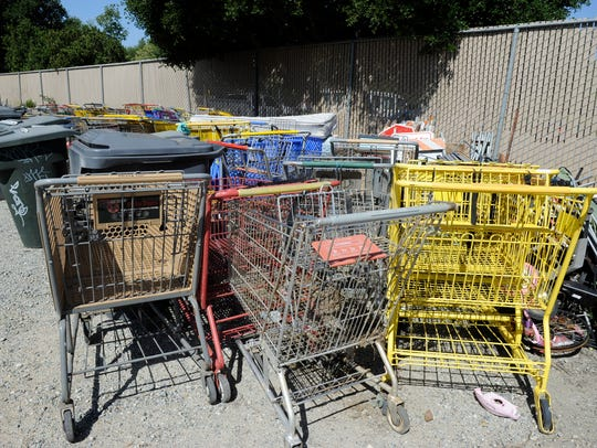 Shopping carts line up as they wait to be returned to their owners at Natividad Creek Park. Members of Salinas Valley Community Church and Harvestlands Church pulled three shopping carts out of the creek March 29 as they picked up trash there as part of A Loving Salinas Serve Day March 29 at Natividad Creek Park. More volunteers are needed April 18 at the park for Earth Day.