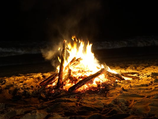 Sparkling Fire of Fire on Beach