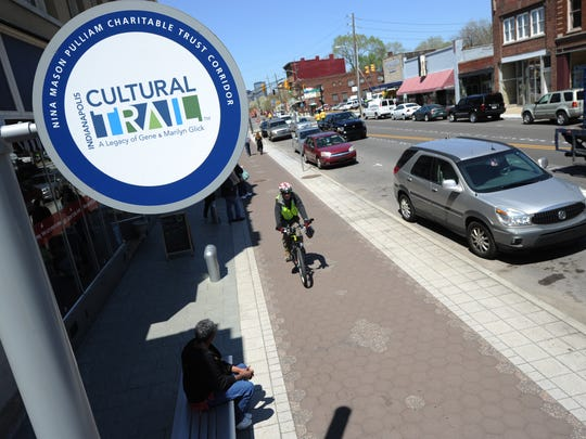 The Indianapolis Cultural Trail, this segment is along Virginia Ave heading in Fountain Square.