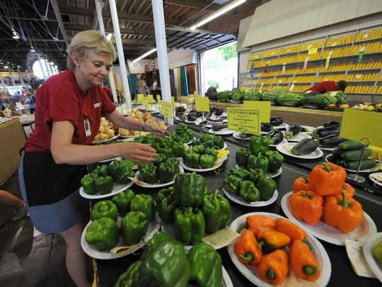 Theresa Pagliai, Grinnell, works on displaying vegetables in the Agricultural Building at the Iowa State Fair on Aug. 15.