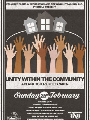"""The City of Palm Bay and Top Notch Training, Inc., will host """"Unity Within the Community: A Black History Celebration"""" this Sunday from 4-7 p.m. at the Tony Rosa Community Center on Port Malabar Blvd in Palm Bay."""