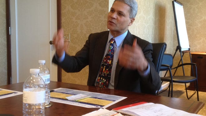Rochester City Schools Superintendent Bolgen Vargas meets with the Editorial Board.
