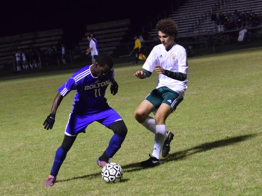 Bolton senior Nicolas Mboungou leads the Bears in goals
