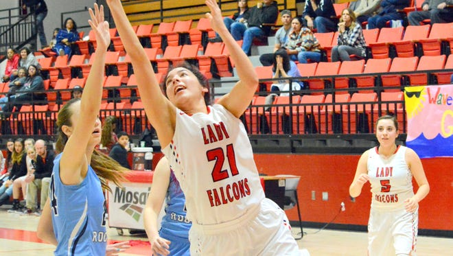 Loving's Briana Rodriguez puts up a shot in the second quarter against Goddard on Saturday.