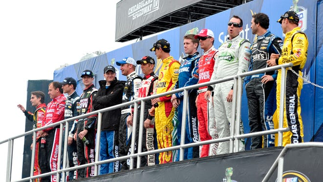 The 13 drivers that participated in the 2013 Chase for the Sprint Cup are announced at Chicagoland Speedway on Sept. 15.