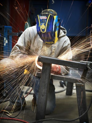 Tyler Heagy grinds a bench at the Lebanon County Career and Technology Center.