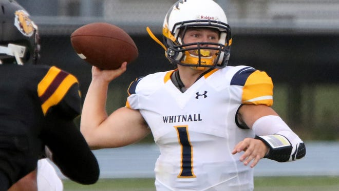 Whitnall's Andrew Mallmann passes on a screen against West Allis Central at the West Allis Athletic Complex on Aug. 19, 2016.