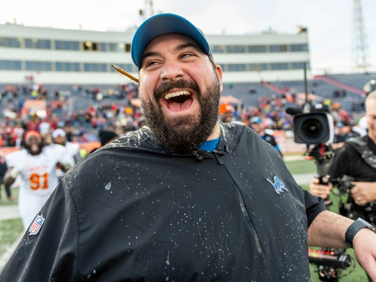 Jan 25, 2020; Mobile, AL, USA; North head coach Matt Patricia of the NFL's Detroit Lions grins after getting dunked following the North win the 2020 Senior Bowl college football game at Ladd-Peebles Stadium. Mandatory Credit: Vasha Hunt-USA TODAY Sports