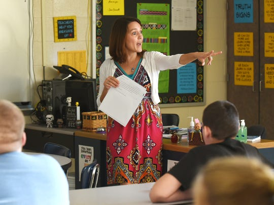 Charity Stoehr, eighth grade language arts teacher at Maysville Middle School, was one of 10 new teachers the district welcomed this school year.