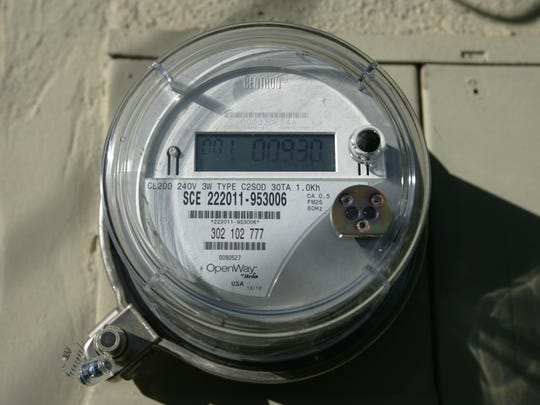 The smart meter installed at Palm Springs resident Robert Nickels' home on Wednesday, Jan. 26, 2011.