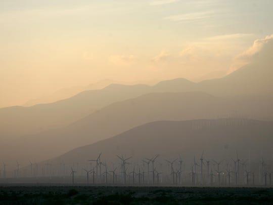 Smog blows through the San Gorgonio Pass in 2011. Climate