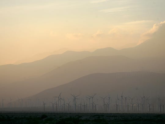 Smog blows through the San Gorgonio Pass in 2011. Climate