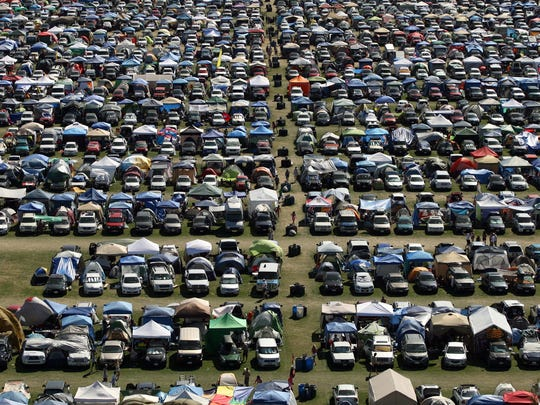 A car-camping lot is seen on April 20, 2012 during the first day of the Coachella Valley Music and Arts Festival's second weekend at the Empire Polo Club in Indio. <137>The wheel will be on site for Stagecoach next weekend as well. <137>