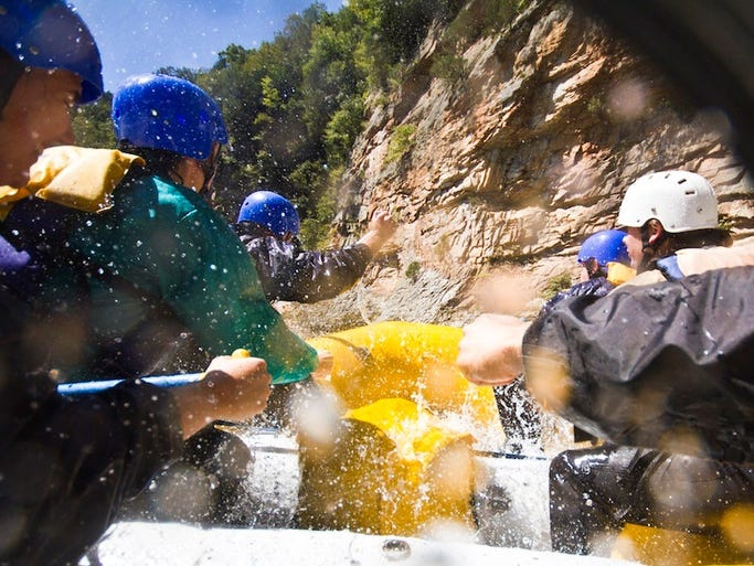 The appropriately named Class IV Canyon Doors Rapid. The 13-mile long Lower Gauley River is entirely appropriate for most first-time rafters.