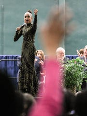 """Loretta Holloway sings """"The Impossible Dream"""" at the birthday celebration Monday for the Rev. Martin Luther King Jr. at the Civic Center of Anderson."""