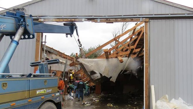A tornado destroyed a barn and ripped up numerous trees Wednesday evening in the Wyalusing area.