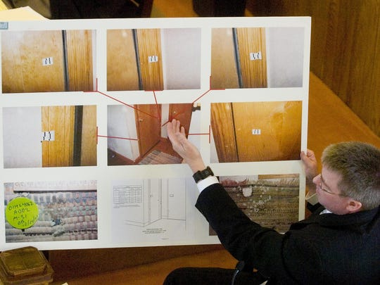 New York State Police Senior Investigator Steve Andersen testifies about the location of blood found in the Harrises' home during Calvin Harris' 2007 murder trial at Tioga County Court. A third trial is scheduled to begin Sept. 15 in Schoharie County.