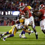 Alabama running back Derrick Henry ran for three touchdowns against LSU, and leads the country with 17 this season. Alabama has risen back up to the top of the SEC West as it has relied more on Henry.
