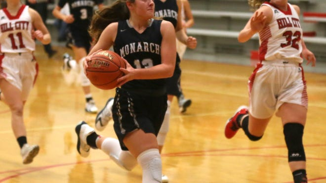 TMP's Sophia Balthazor heads to the basket for a transition layup during Friday's 51-32 win at Hill City.