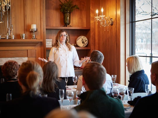 Kohler's Head Chocolatier Anette Righi DeFendi speaks during the 2016 In Celebration of Chocolate event in Kohler.